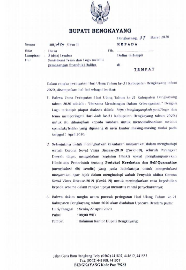 Surat Bupati Bengkayang Perihal Sosialisasi Tema Dan Logo Melalui Pemasangan Spanduk Baliho Kabupaten Bengkayang